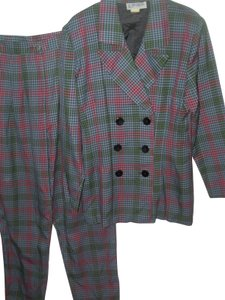 Alyn Paige Plaid 2 pc suit long fitted jacket boot cut flare straight pant