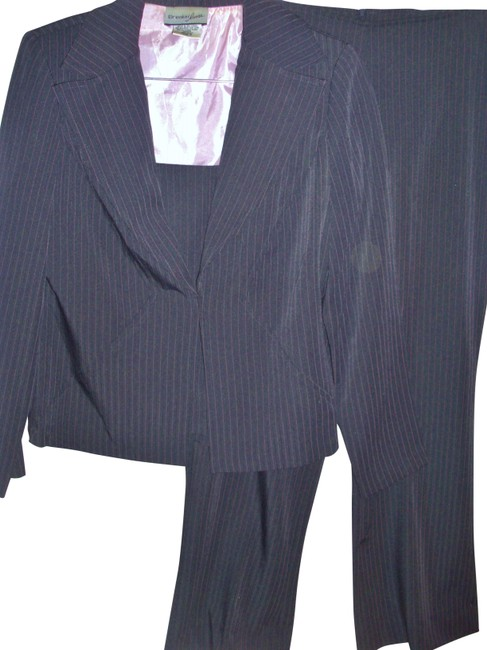 Item - 3 Pc Striped Shell Cami Blazer & Wide Dress Pant Suit Size 6 (S)