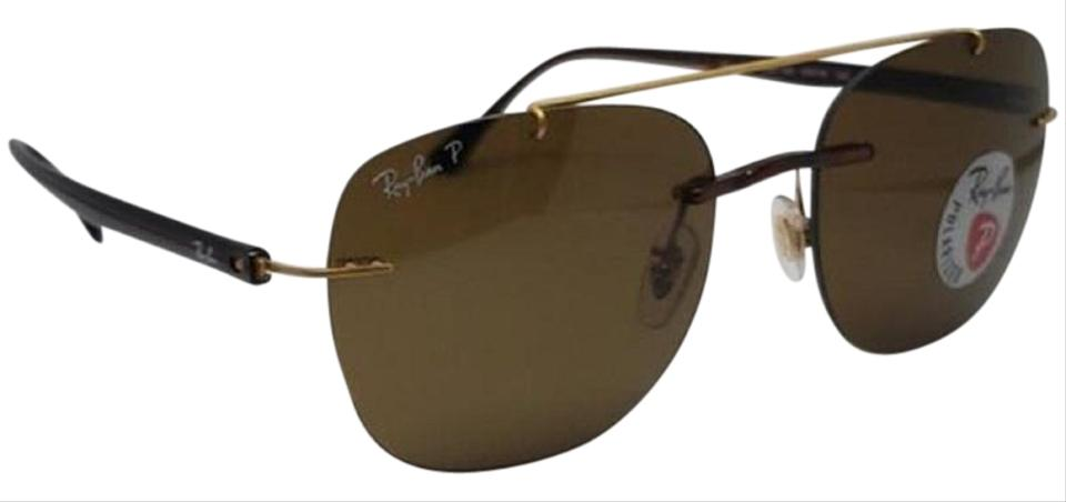00033e9b881f Ray-Ban Gold   Brown Unisex Polarized Aviator Frame Gradient Lens Sunglasses