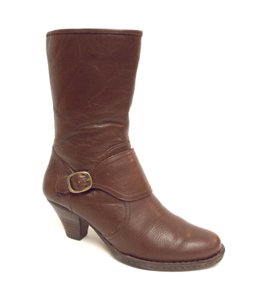 Børn Victorian Style Buckled Patch High Ankle Buckle Brown Boots