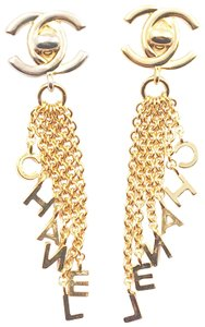 Chanel Chanel Gold Plated CC Turnlock Letter Chain Clip on Earrings