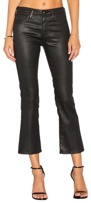Item - Black Coated Jodi Flare Skinny Stretch Crop Faux Leather Leatherette Vegan Capri/Cropped Jeans Size 25 (2, XS)