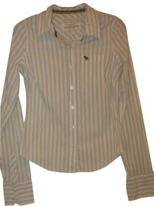Abercrombie & Fitch Button Down Shirt Cream w/green stripes