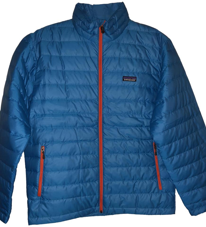 25ee2091a50d Patagonia Big Sur Blue W Fire Red Men s Down Sweater Jacket Size 8 ...
