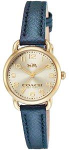 Coach Coach Women's Delancey Gold Tone Metallic Blue Leather Watch 28mm