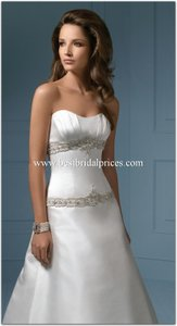 Alfred Angelo White Satin 808 14 Formal Wedding Dress Size 10 (M)