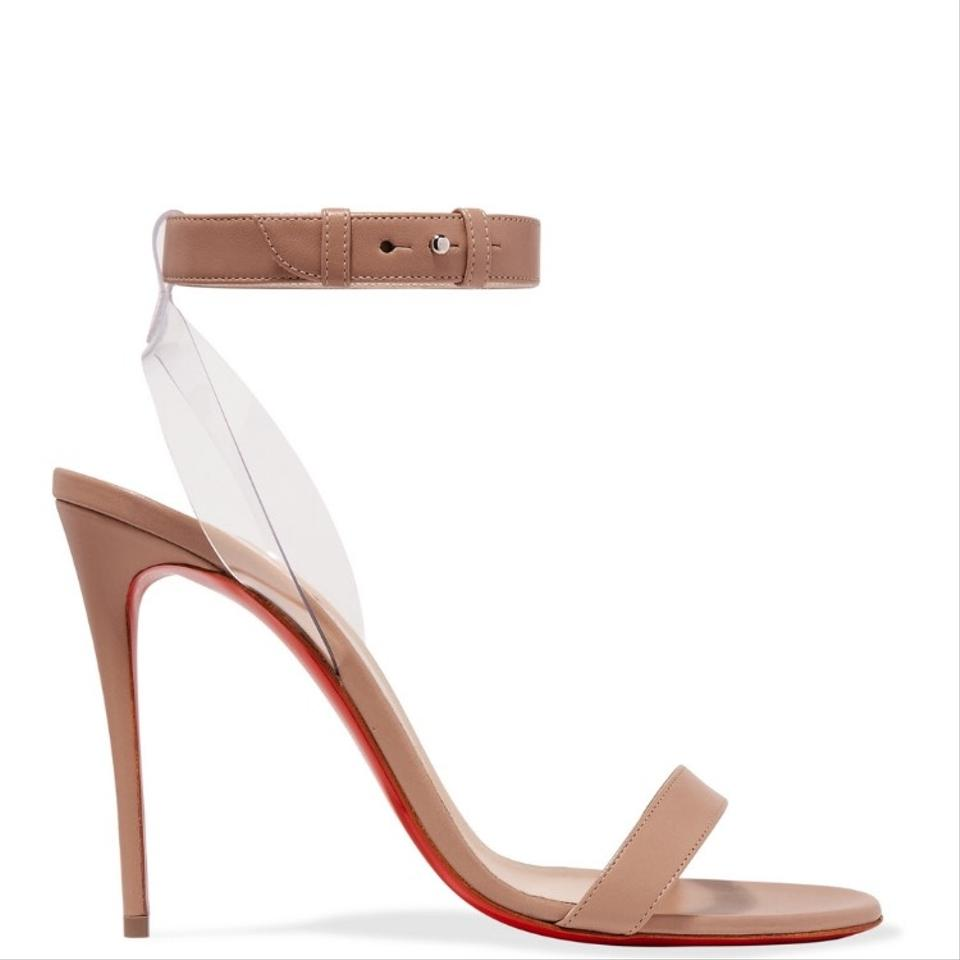 c7541bab3f9c Christian Louboutin Nude Jonatina Pvc Trimmed Leather Heels Sandals ...