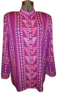 Bob Mackie Print Fuchsia Pink 001 Button Down Shirt purple multi