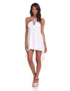 BCBGeneration Cross Strap Keyhole Ruched High Low Dress