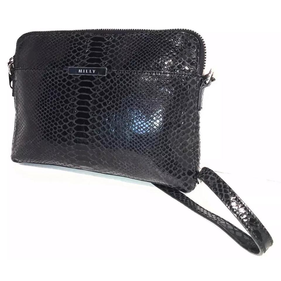 46e7f817ced5 MILLY Clutch   W  Removable Strap Black Leather Cross Body Bag - Tradesy