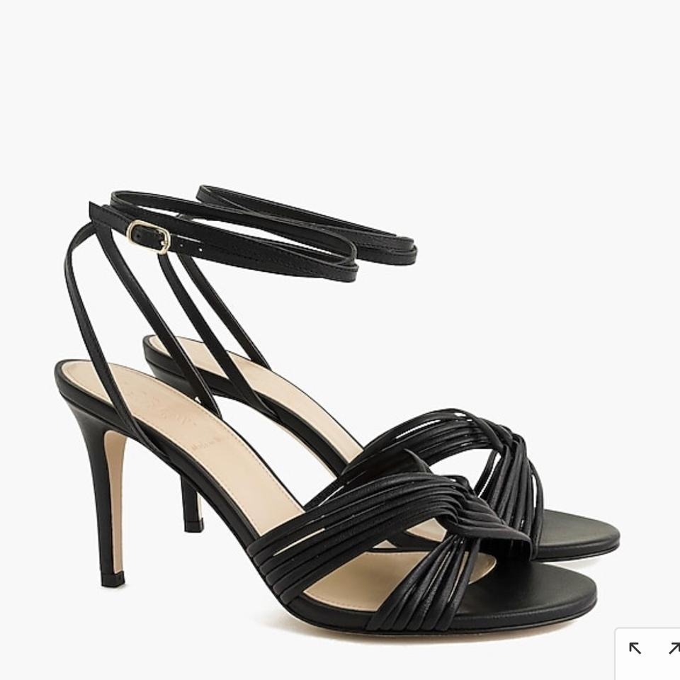 c6b5f06b896 J.Crew Black Strappy Italian Leather Heels Sandals Size US 8 Regular (M, B)  77% off retail