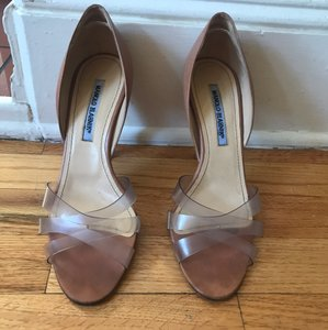 Manolo Blahnik nude and lucite Sandals
