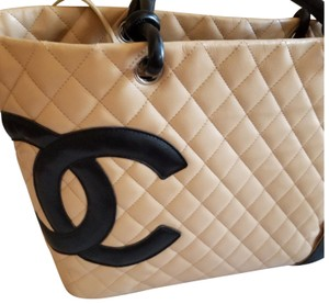 Chanel Cambon Like New Tote in tan and black
