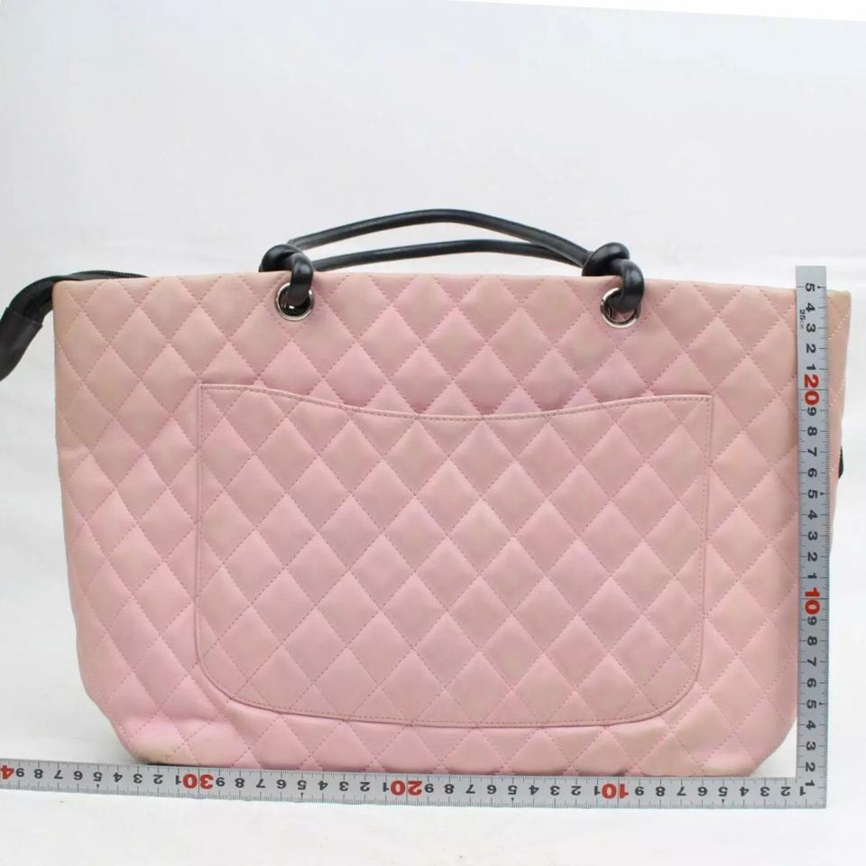 01a57706d877 Chanel Cambon Monogram Large Pink/Black Pink/Black Lambskin Leather ...