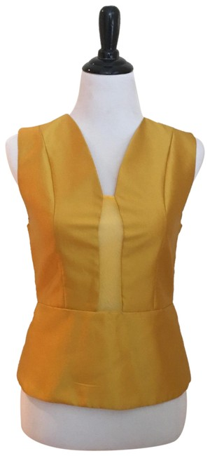 Preload https://img-static.tradesy.com/item/24295209/gracia-yellow-couture-tie-blouse-size-6-s-0-3-650-650.jpg