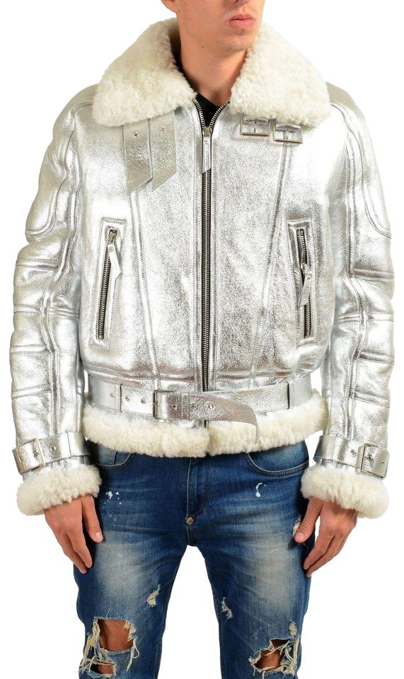 4e183d2df4 Versace Silver Men's Pebbled Leather Shearling Zip Up Jacket Coat Size 8  (M) 62% off retail