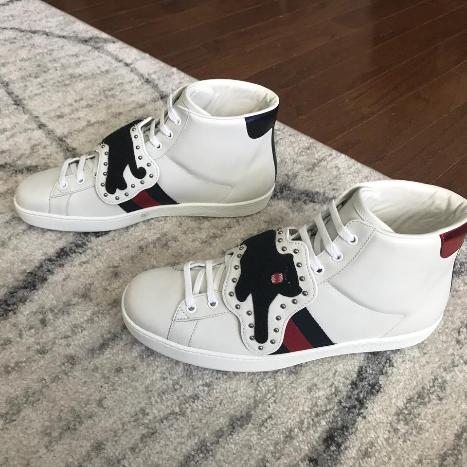 801020995 Gucci White New Mens Ace Patch Panther Sneakers Size US 10.5 Regular ...