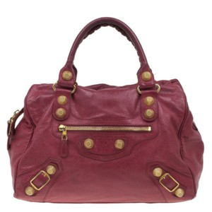 Balenciaga Fabric Leather Stud Tote in Red