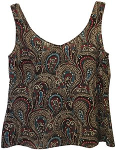 Escada Multi V-neck Scoop Back Silk Top Brown Paisley