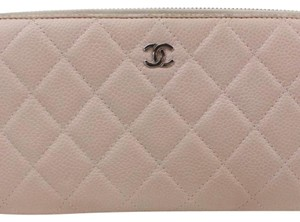 Chanel Beige clutch quilted zippy wallet