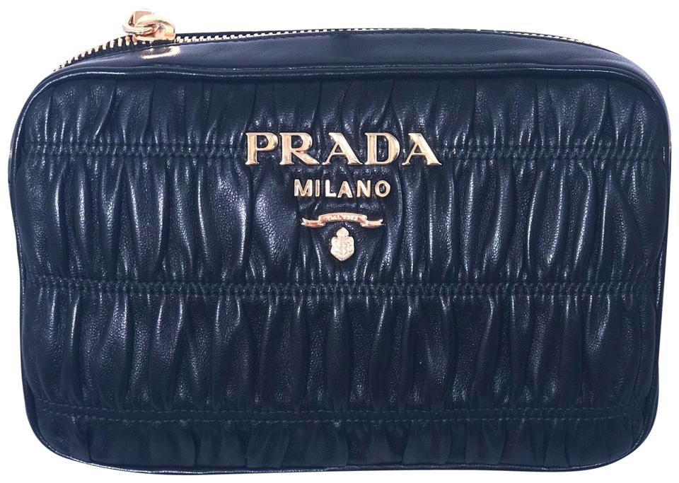 493251b02f34 Prada Gauffre Nappa Bandoliera Black Leather Cross Body Bag - Tradesy