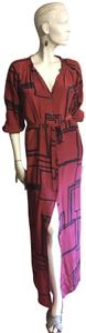 burgundy and black Maxi Dress by Tucker Geniune Full Length Silk