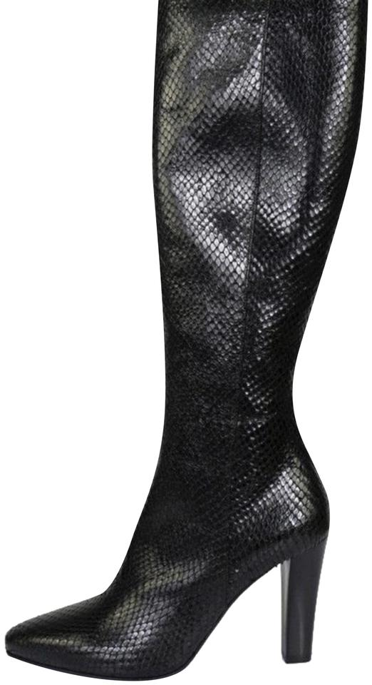 72e06412999 Saint Laurent Black New 695 Lily Textured Leather Faux Snake Boots/Booties  Size EU 38.5 (Approx. US 8.5) Regular (M, B) 79% off retail
