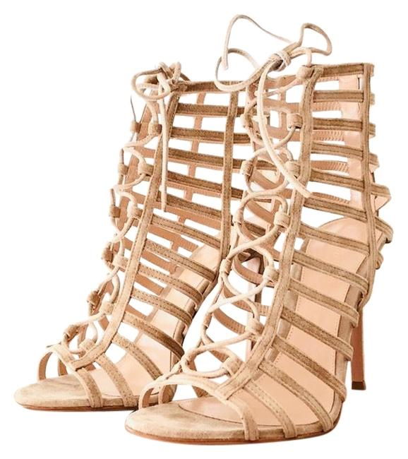 Item - Nude Suede Caged Lace-up Sandal Formal Shoes Size EU 37.5 (Approx. US 7.5) Regular (M, B)
