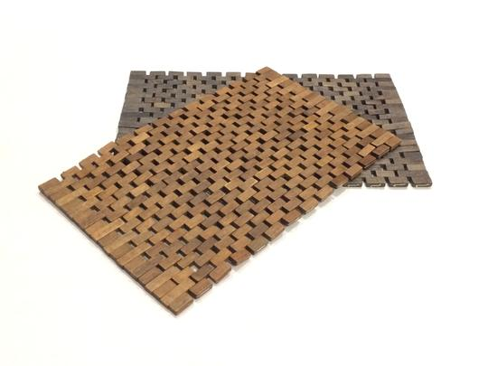 Pomax Set of 2 Wood Tile Placemats Image 1