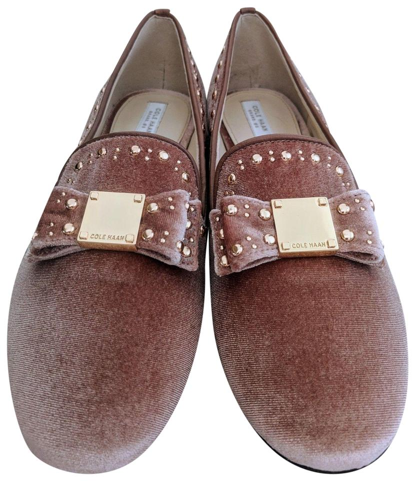 f11db036abe Cole Haan Nude Blush New with Box Tali Bow Stud Loafer Gold Velvet ...