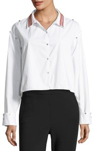 Opening Ceremony Shirt Versatile Embroidered Button Down Shirt Optic White