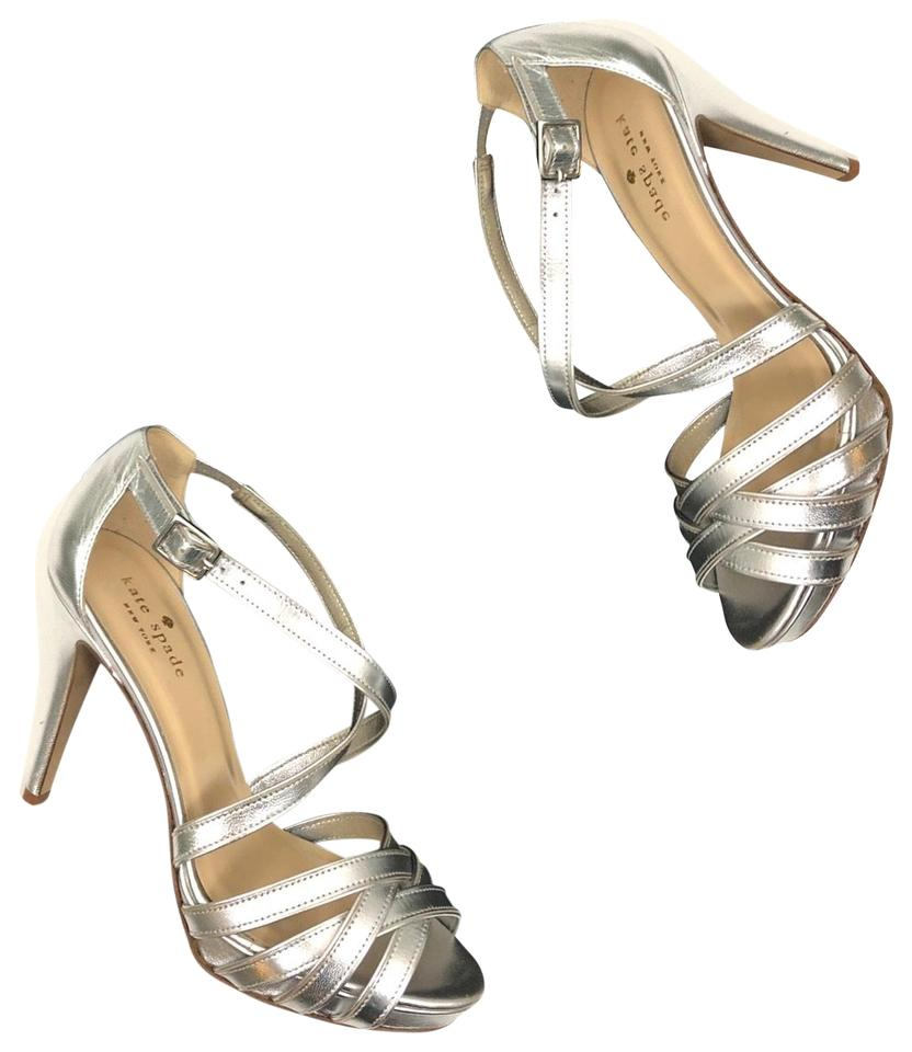 ad0ece48a39f73 Kate Spade Silver Ginger Leather Strappy Platform Heels Formal Shoes ...