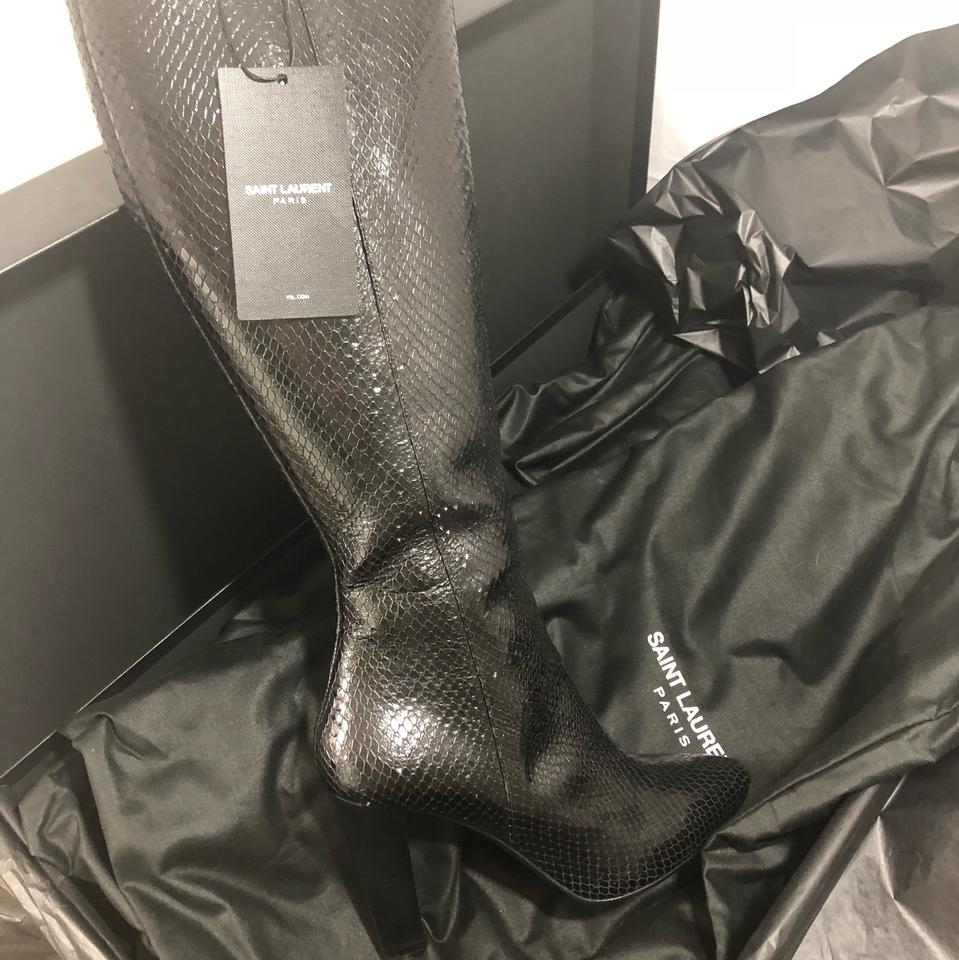 8e16991a939 Saint Laurent Black New 695 Lily Textured Leather Faux Snake Boots/Booties  Size EU 38 (Approx. US 8) Regular (M, B) 79% off retail