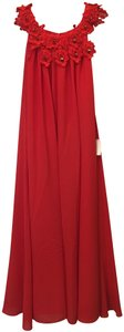 Badgley Mischka Chiffon Embroidered Applique Crystal Accents New With Tags Dress