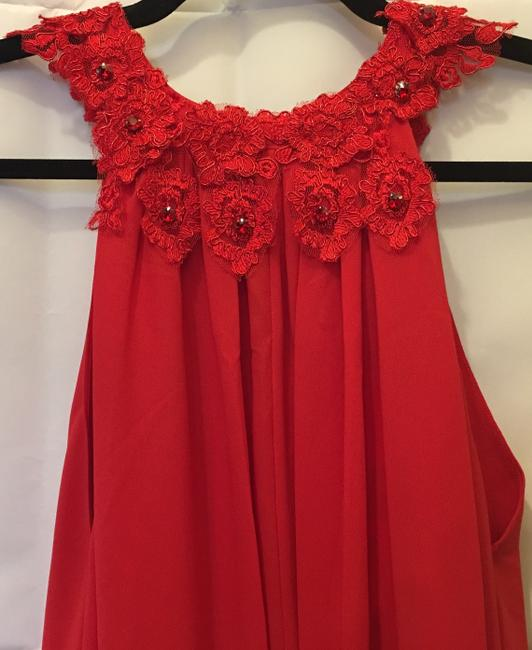 Badgley Mischka Chiffon Embroidered Applique Crystal Accents New With Tags Dress Image 1