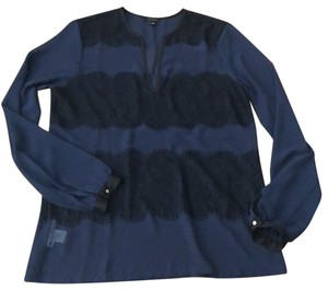 Ann Taylor Top Navy with Black