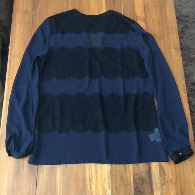 Ann Taylor Top Navy with Black Image 5