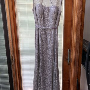 Betsy & Adam Silver Sparkle Lace with Silver Underlay. 87% Nylon 13% Mylar. Very Comfortable To Wear. Evening Gown Overlay Formal Bridesmaid/Mob Dress Size 16 (XL, Plus 0x)