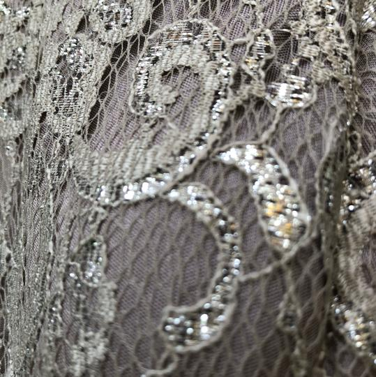 Betsy & Adam Silver Sparkle Lace with Silver Underlay. 87% Nylon 13% Mylar. Very Comfortable To Wear. Evening Gown Overlay Formal Bridesmaid/Mob Dress Size 16 (XL, Plus 0x) Image 2