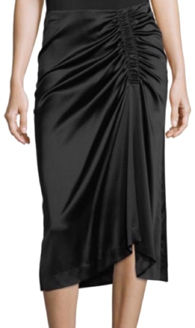 Preload https://img-static.tradesy.com/item/24295975/theory-black-stretch-satin-ruched-skirt-size-10-m-31-0-3-650-650.jpg