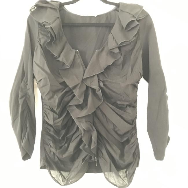 Anne Fontaine Cardigan Zippered Top Black Image 3