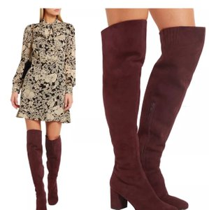 Saint Laurent Ysl High Knee Suede Burgundy Boots