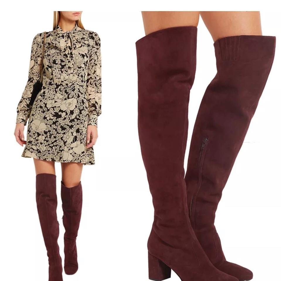 8d0a43a5 Saint Laurent Burgundy Ysl Bb 70 Suede Over The Knee Boots/Booties Size US  9 Regular (M, B) 79% off retail
