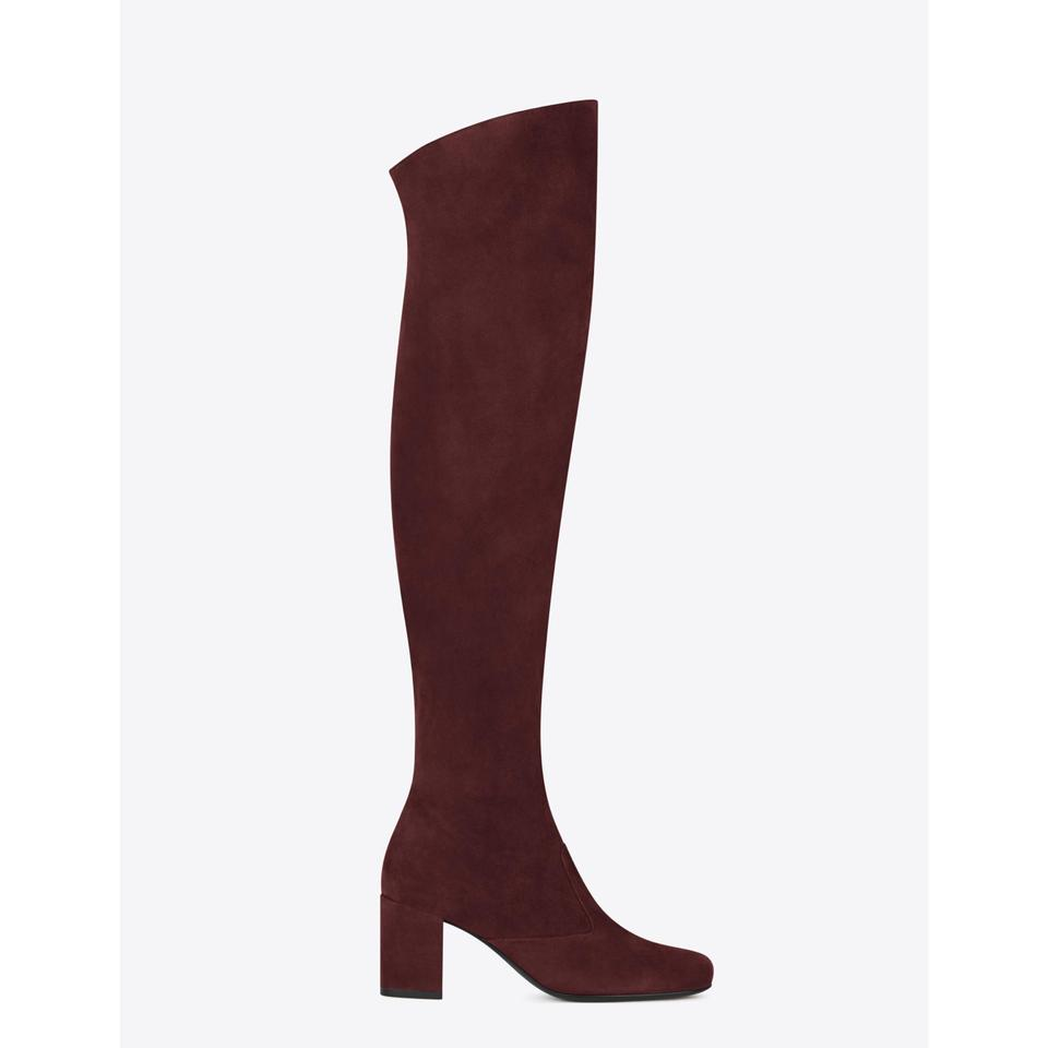a267f41d195 Saint Laurent Burgundy Ysl Bb 70 Suede Over The Knee Boots/Booties Size US 9  Regular (M, B) - Tradesy