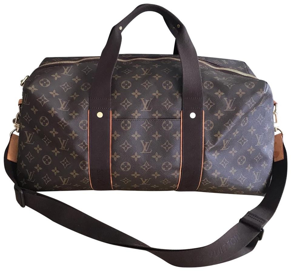 b0f1679eae8f Louis Vuitton Beaubourg Keepall Duffle Rare Gm Bandouliere Monogram  Macassar Canvas Brown Leather Weekend Travel Bag
