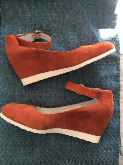 Sundance Ankle Strap Suede Nearly New rust Wedges Image 1