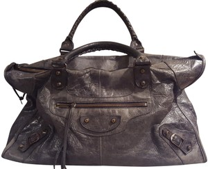 Balenciaga Gray Leather Large Satchel in Black / Anthracite