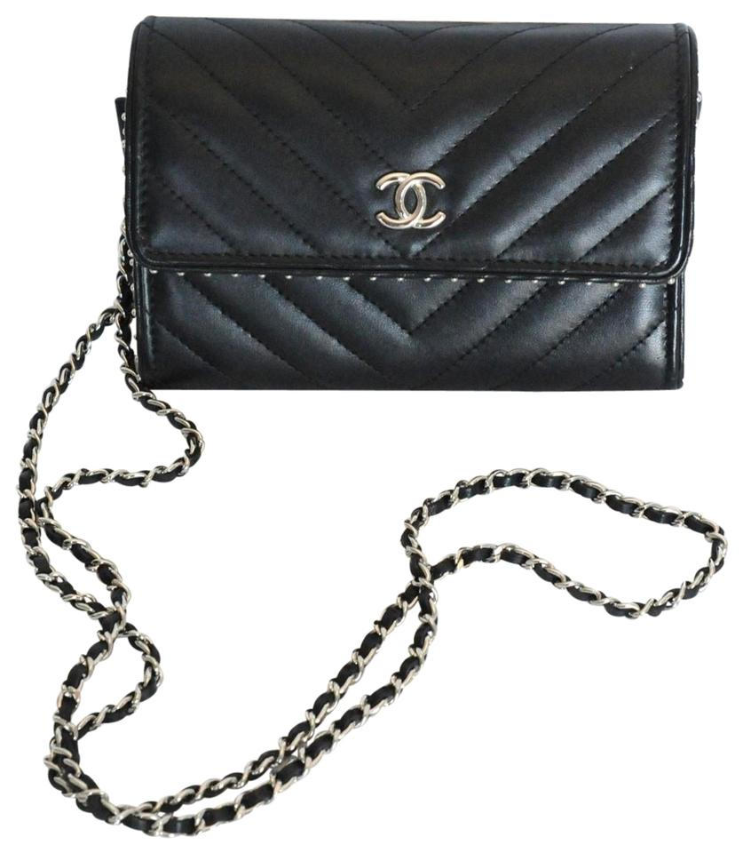 Chanel Wallet on Chain Chevron Calfskin 2018 Black Leather Cross ... a1dcb341f