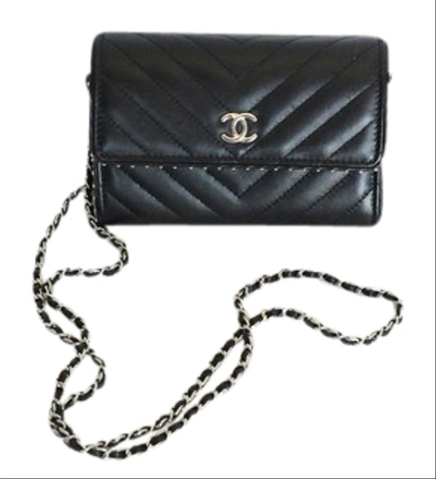 ec198c44738aa1 Chanel Wallet on Chain Chevron Calfskin 2018 Black Leather Cross ...