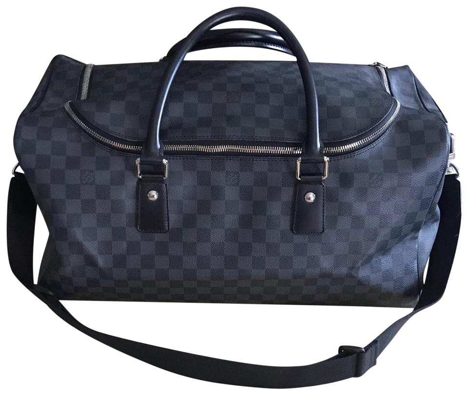 c88f25dc673f Louis Vuitton Keepall Duffle Roadster 50 Bandouliere Damier Graphite Canvas  Gray Leather Weekend Travel Bag